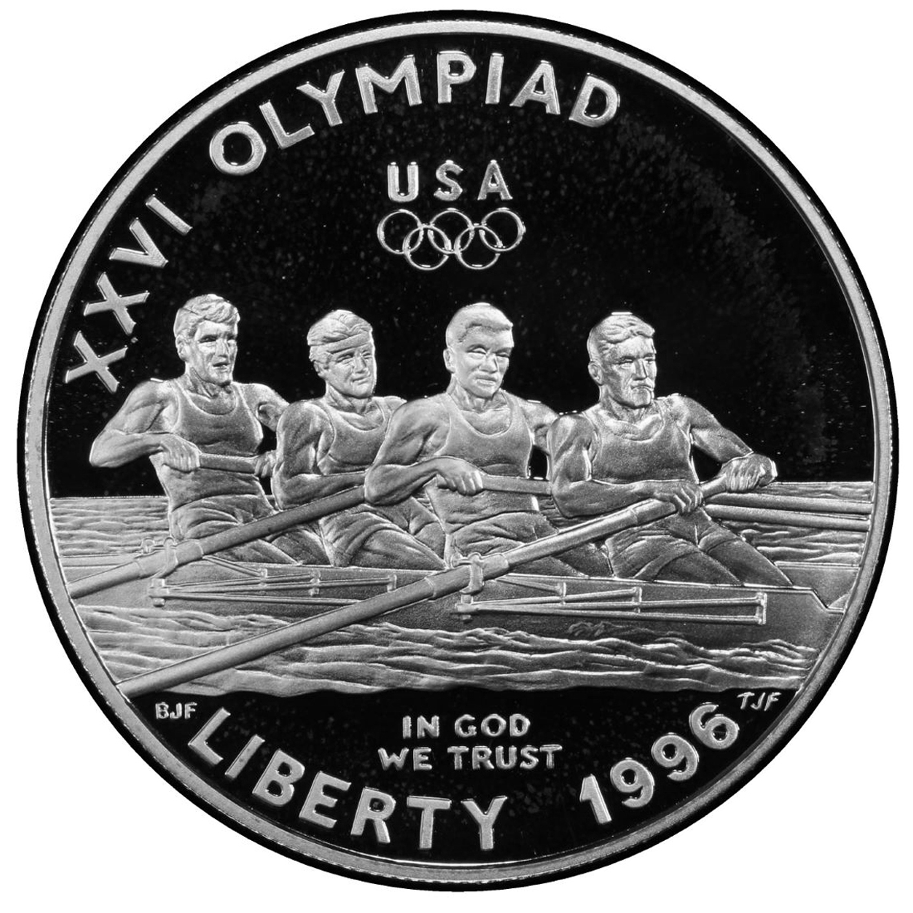 1996 US Olympic Atlanta ROWING Proof Silver Dollar Commemorative Coin